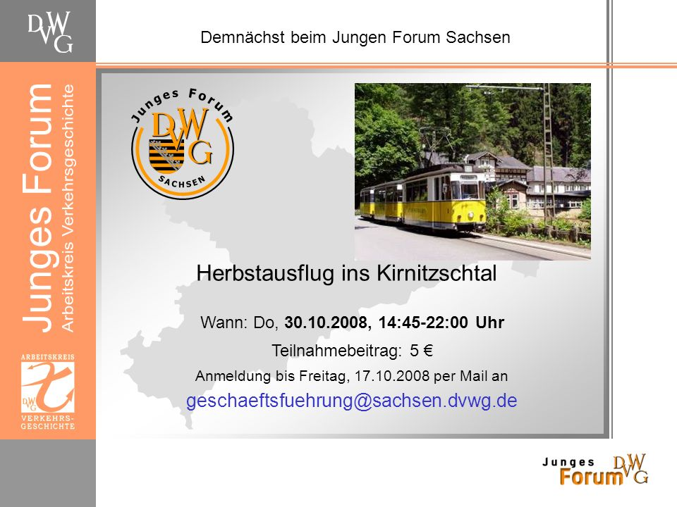 Demnächst beim Jungen Forum Sachsen