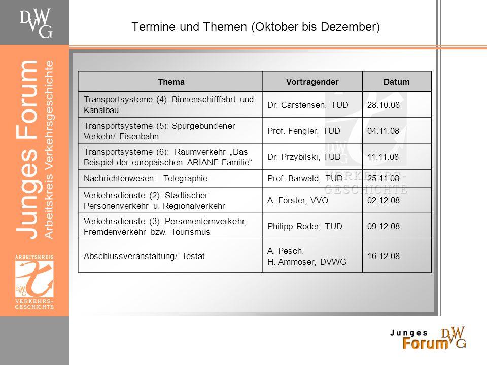Termine und Themen (Oktober bis Dezember)