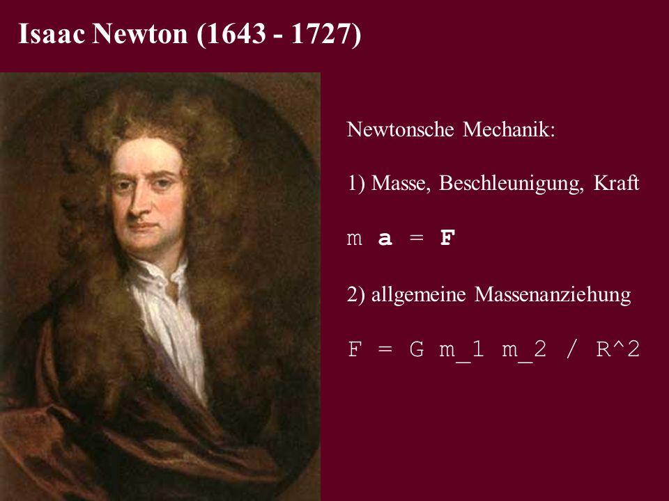 Isaac Newton (1643 - 1727) m a = F F = G m_1 m_2 / R^2