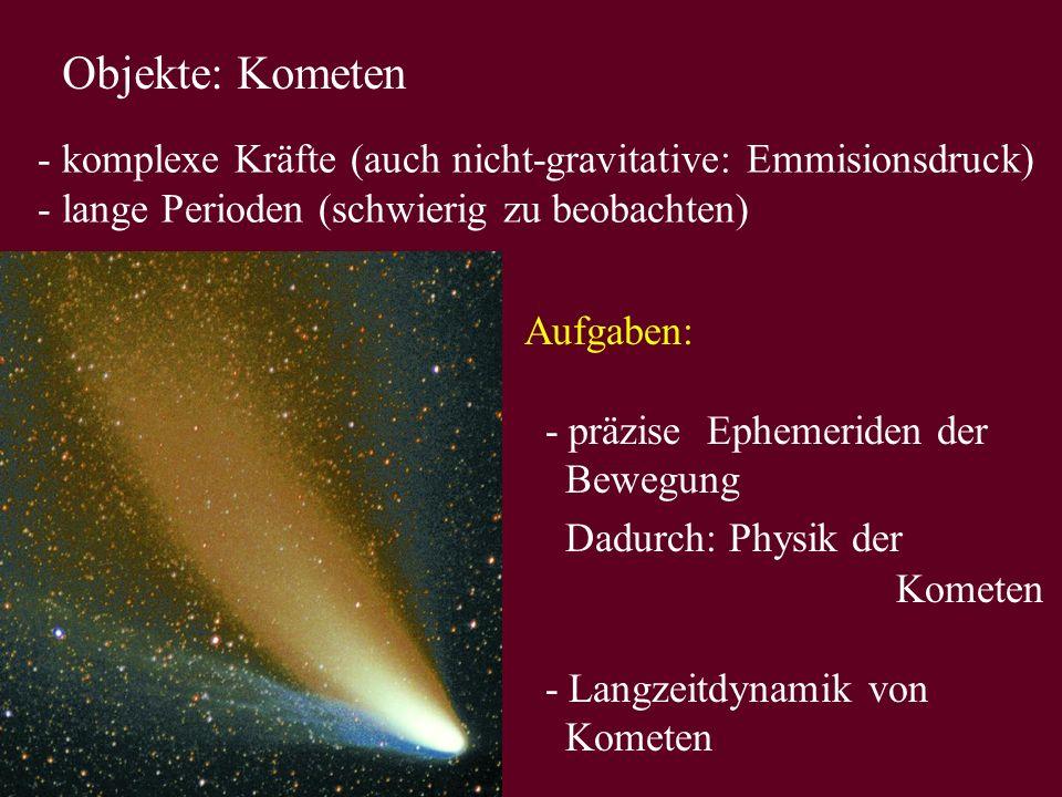 Objekte: Kometen - komplexe Kräfte (auch nicht-gravitative: Emmisionsdruck) - lange Perioden (schwierig zu beobachten)