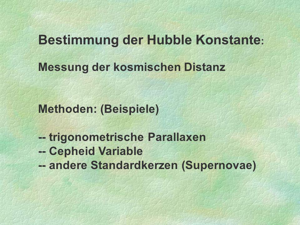 Bestimmung der Hubble Konstante: