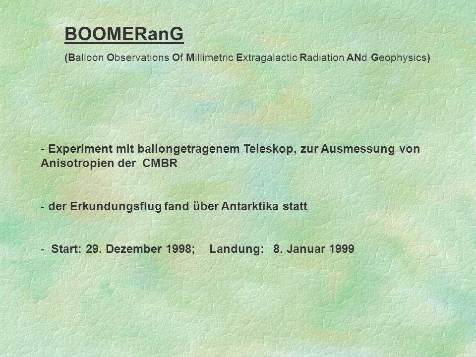 BOOMERanG (Balloon Observations Of Millimetric Extragalactic Radiation ANd Geophysics)