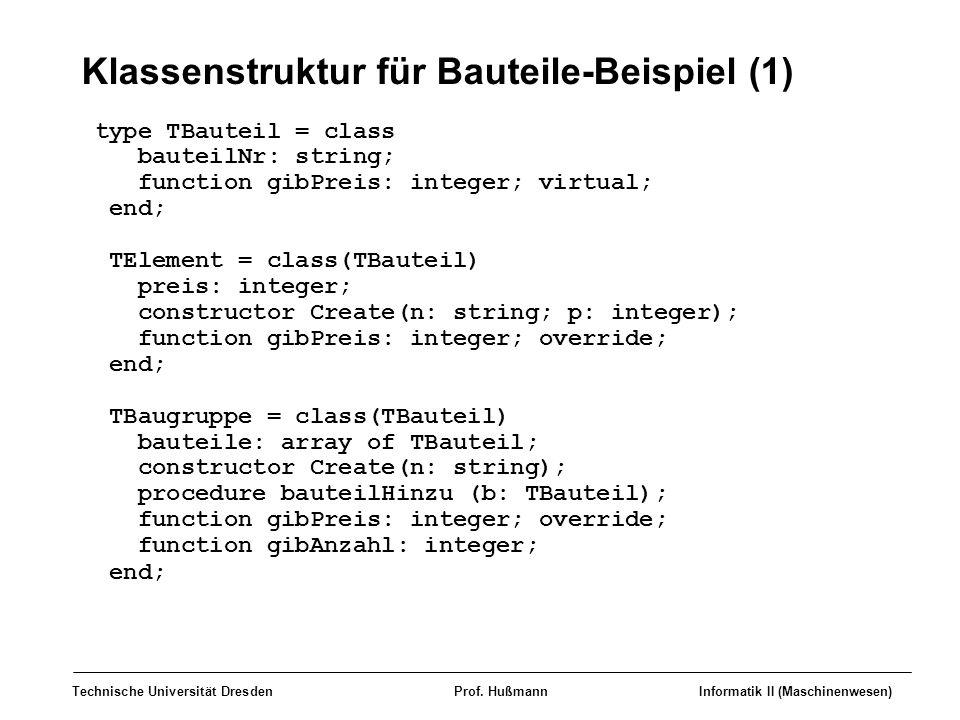 Klassenstruktur für Bauteile-Beispiel (1)