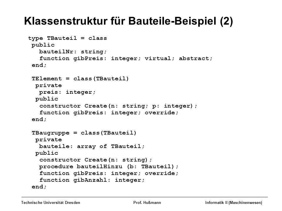 Klassenstruktur für Bauteile-Beispiel (2)
