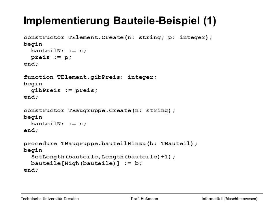 Implementierung Bauteile-Beispiel (1)