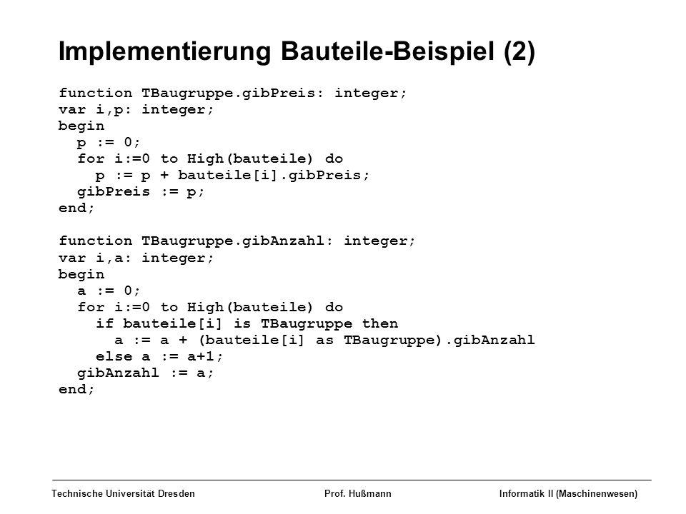 Implementierung Bauteile-Beispiel (2)