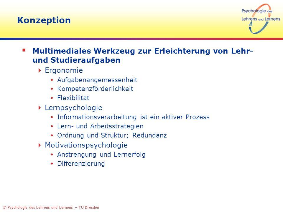 Konzeption Multimediales Werkzeug zur Erleichterung von Lehr- und Studieraufgaben. Ergonomie. Aufgabenangemessenheit.