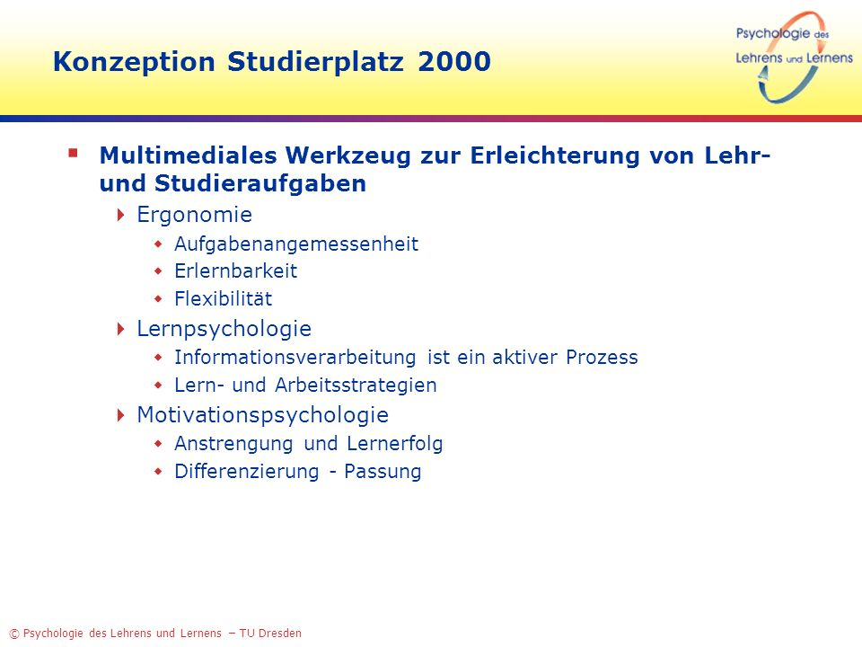 Konzeption Studierplatz 2000