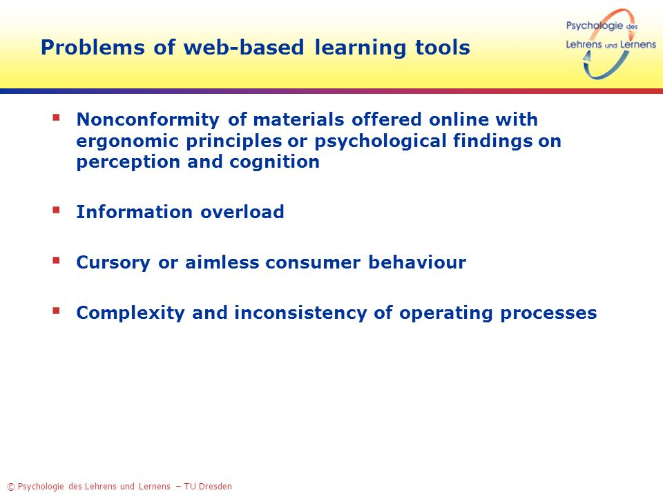 Problems of web-based learning tools