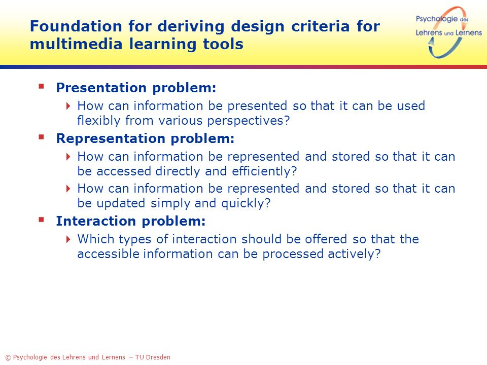 Foundation for deriving design criteria for multimedia learning tools