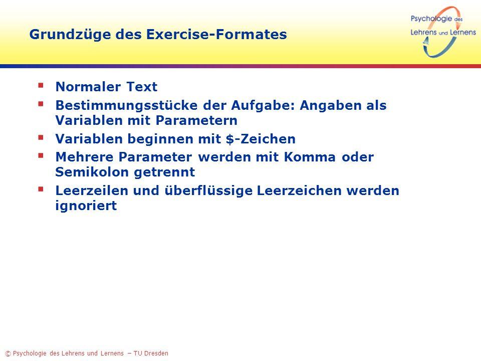 Grundzüge des Exercise-Formates
