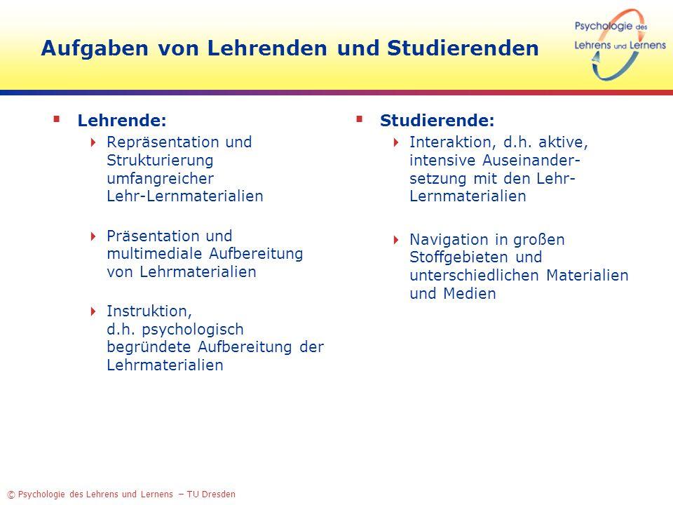 Aufgaben von Lehrenden und Studierenden