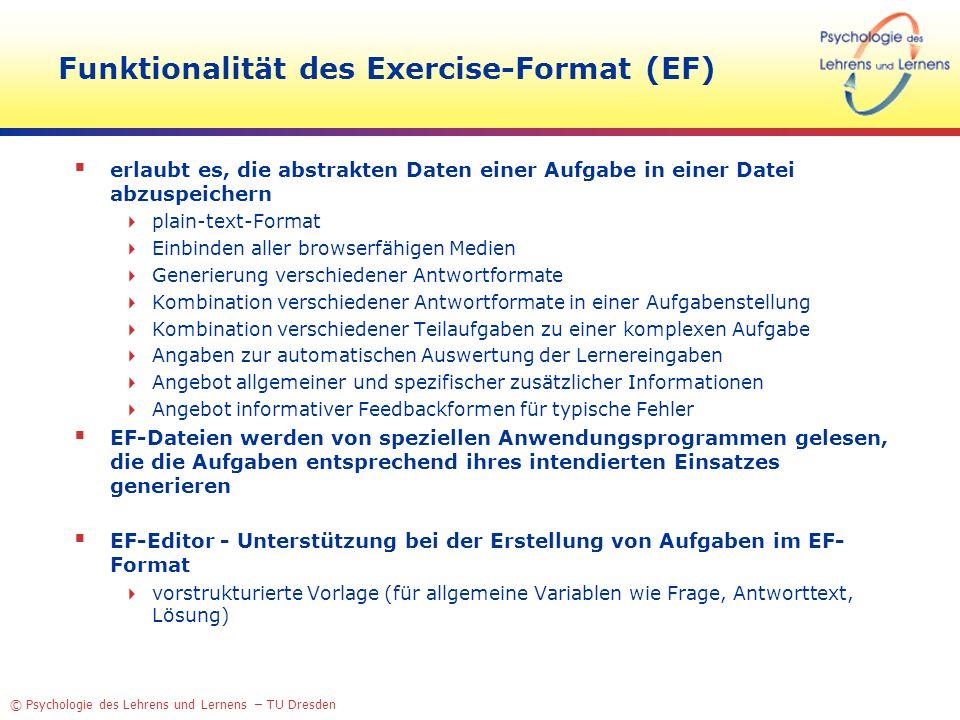 Funktionalität des Exercise-Format (EF)