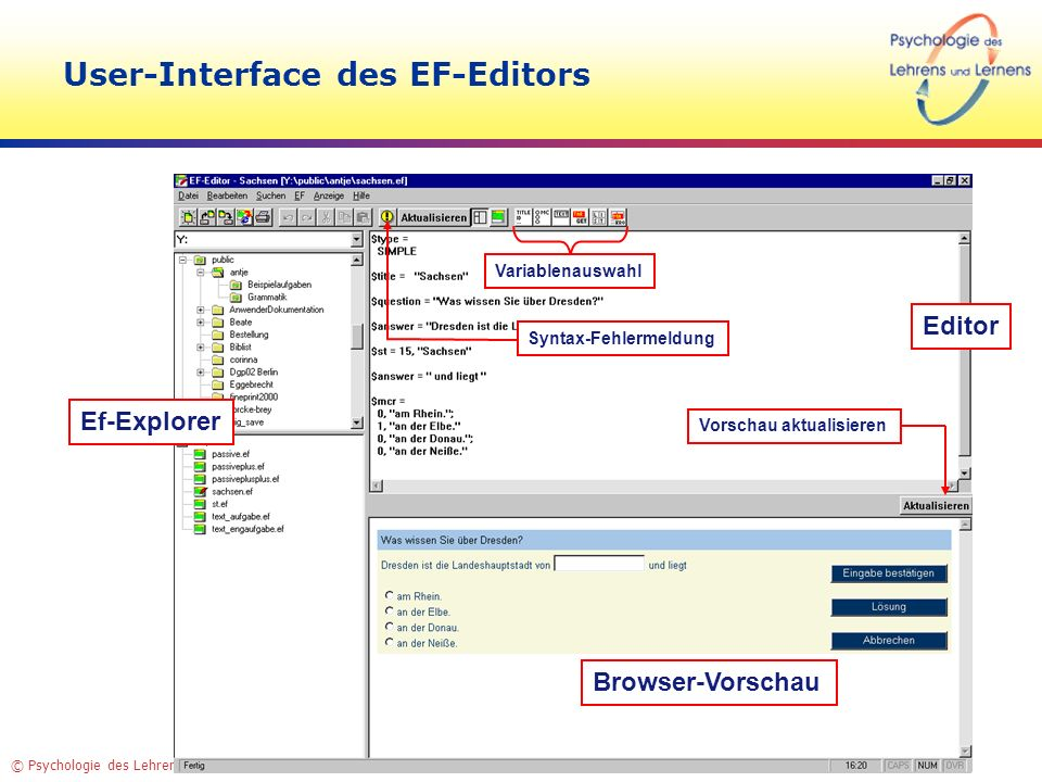 User-Interface des EF-Editors