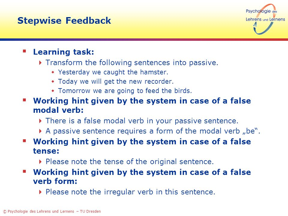 Stepwise Feedback Learning task: