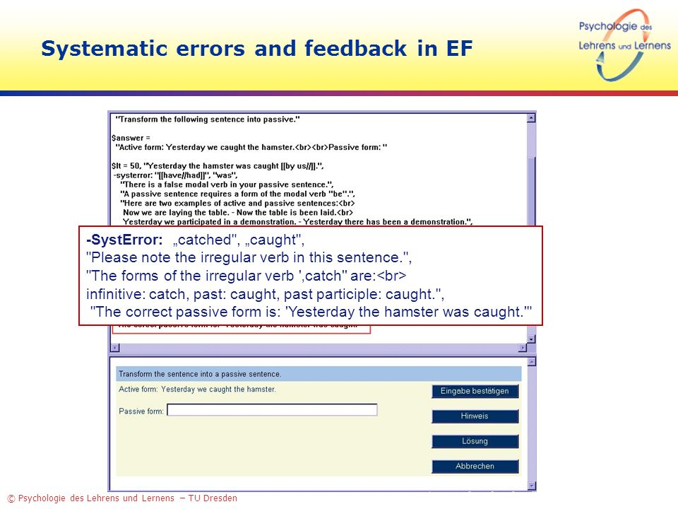 Systematic errors and feedback in EF