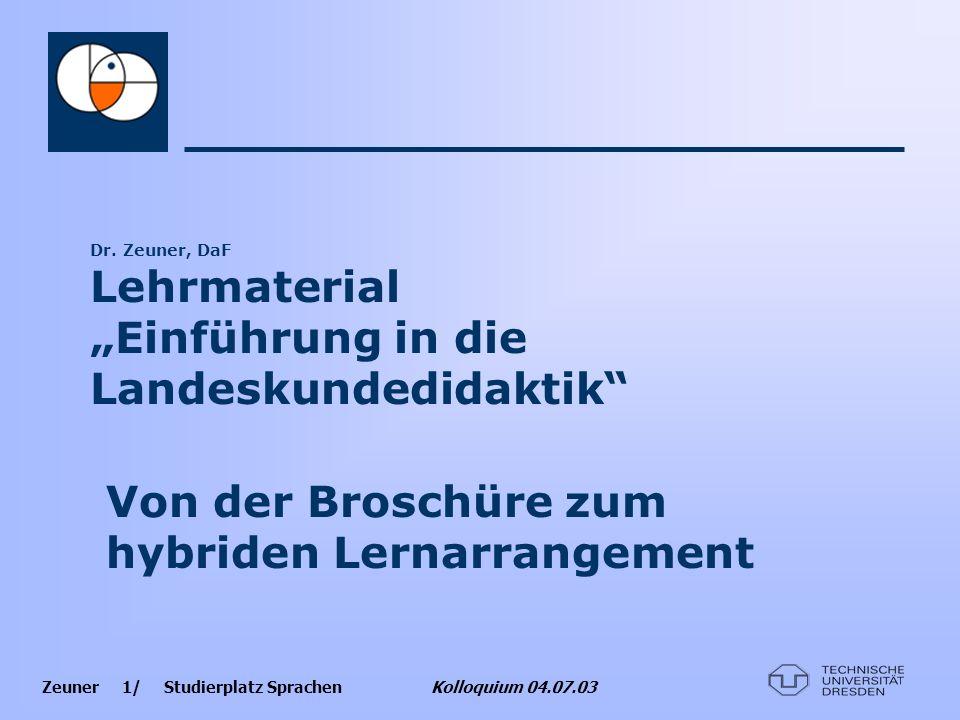 """Dr. Zeuner, DaF Lehrmaterial """"Einführung in die Landeskundedidaktik"""