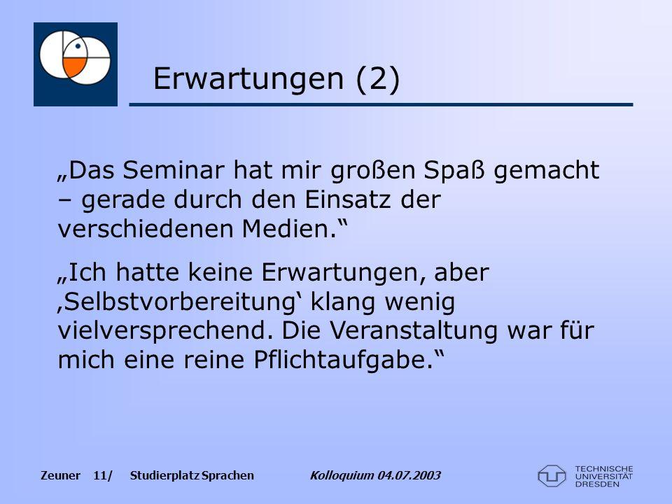 """Erwartungen (2) """"Das Seminar hat mir großen Spaß gemacht – gerade durch den Einsatz der verschiedenen Medien."""