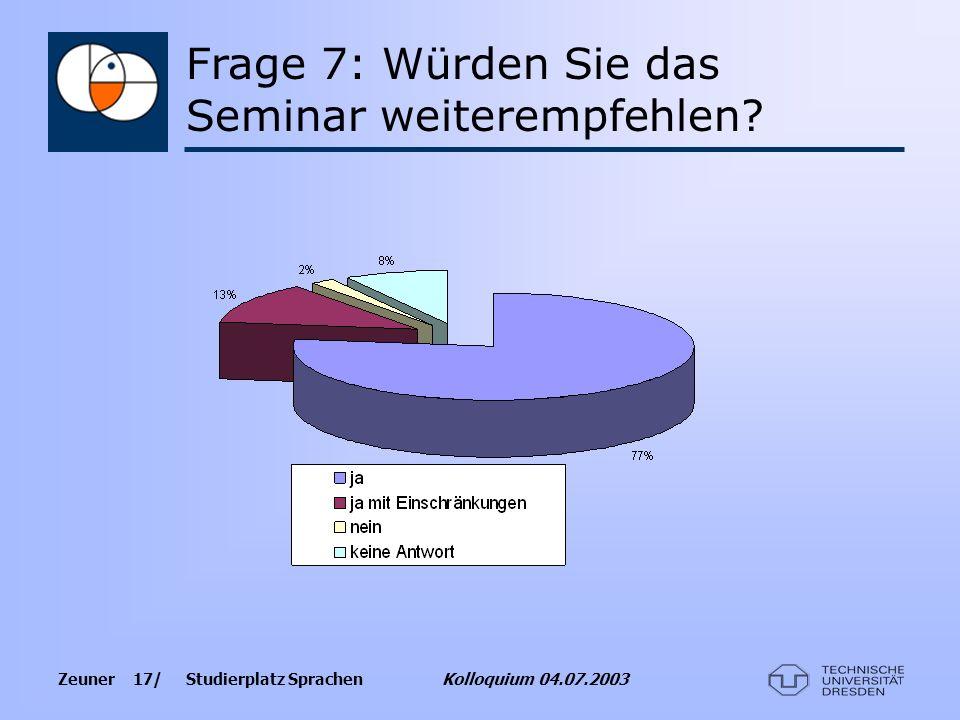 Frage 7: Würden Sie das Seminar weiterempfehlen