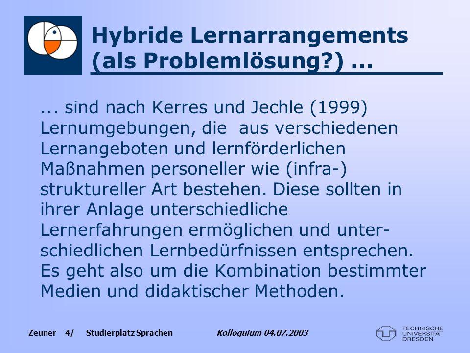 Hybride Lernarrangements (als Problemlösung ) ...