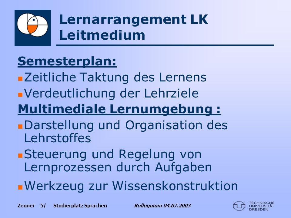 Lernarrangement LK Leitmedium