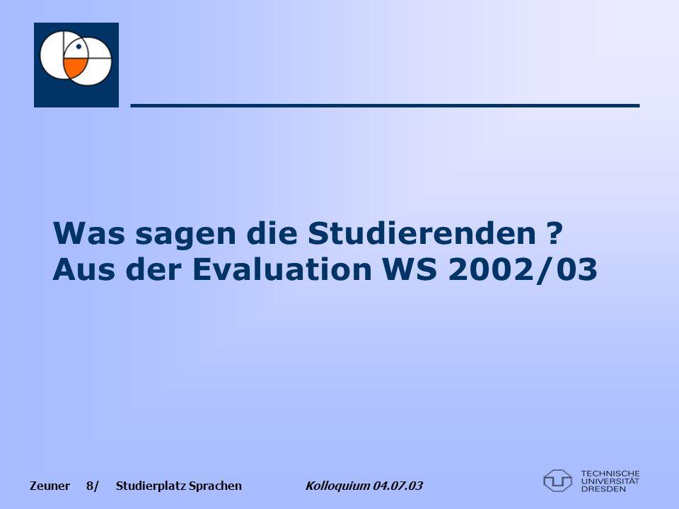 Was sagen die Studierenden Aus der Evaluation WS 2002/03