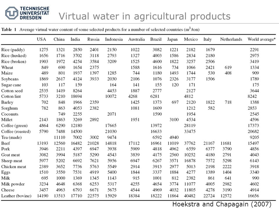 Virtual water in agricultural products