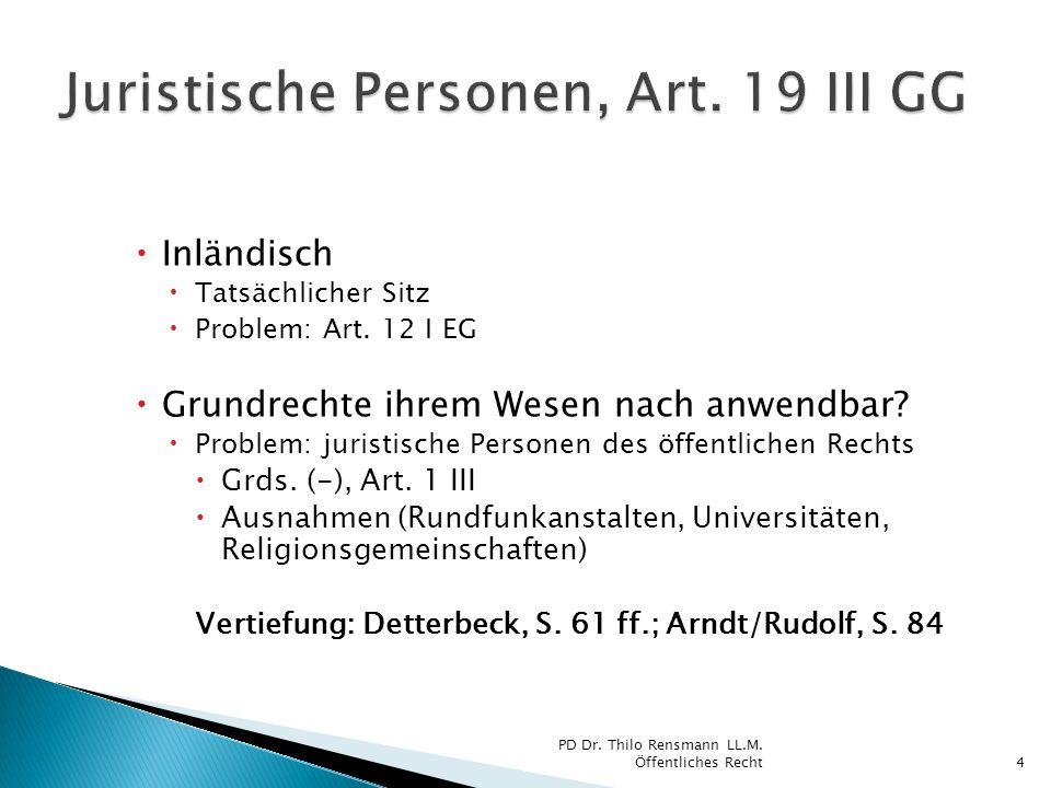 Juristische Personen, Art. 19 III GG