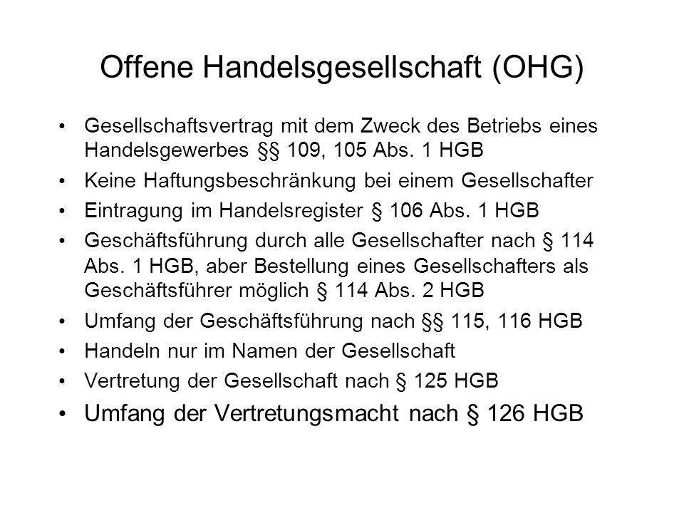 Offene Handelsgesellschaft (OHG)
