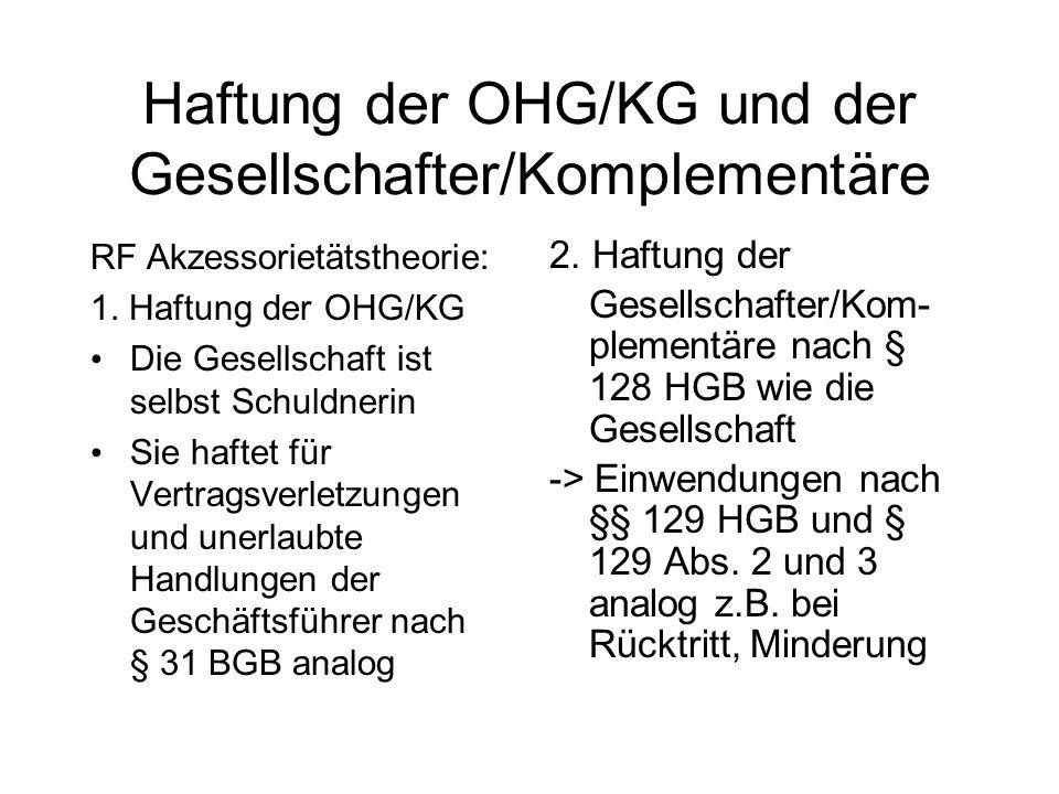 Haftung der OHG/KG und der Gesellschafter/Komplementäre