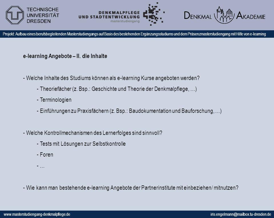 e-learning Angebote – II. die Inhalte