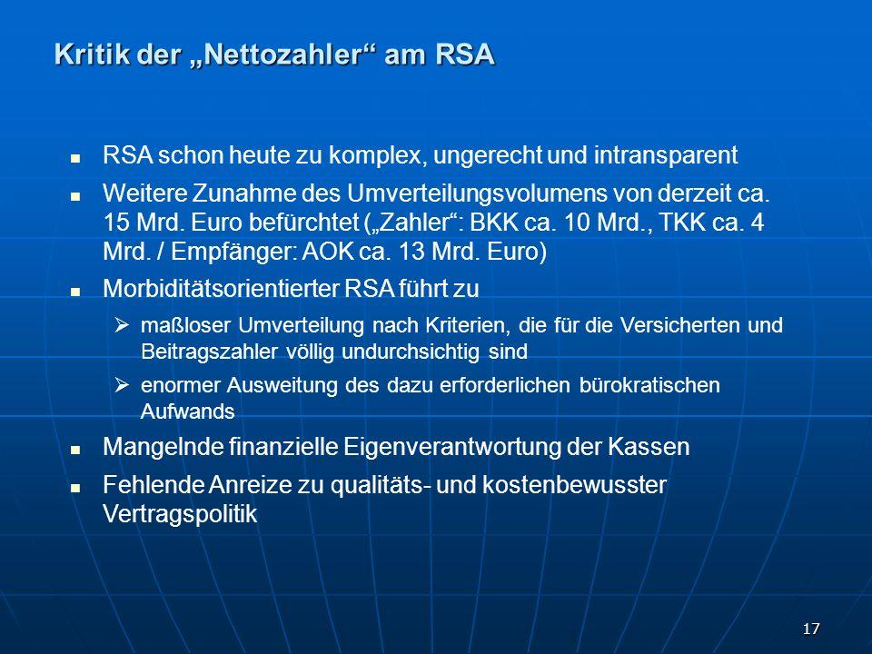 "Kritik der ""Nettozahler am RSA"