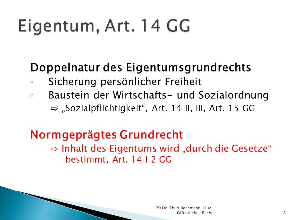 Eigentum, Art. 14 GG Doppelnatur des Eigentumsgrundrechts