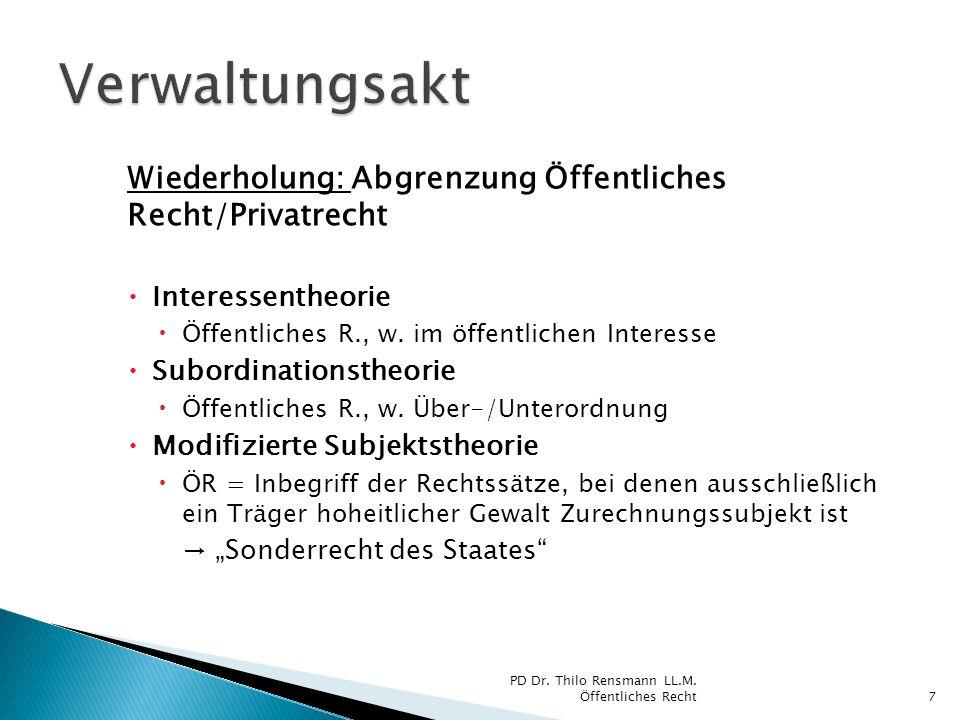 Verwaltungsakt Wiederholung: Abgrenzung Öffentliches Recht/Privatrecht