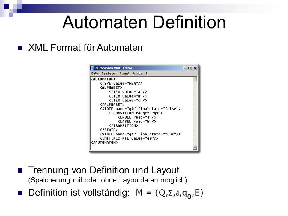 Automaten Definition XML Format für Automaten