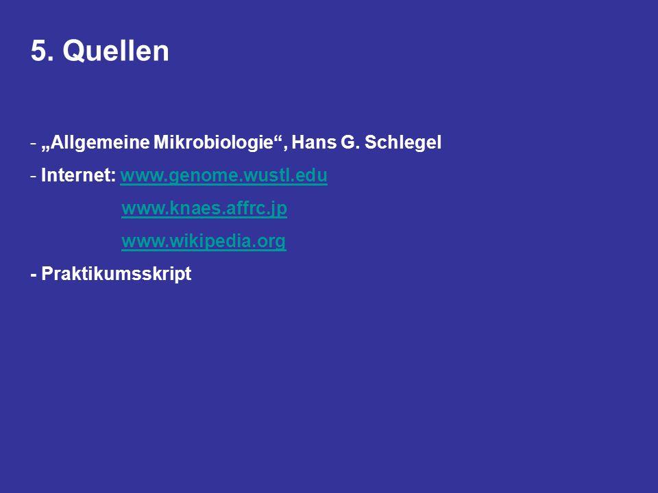 """5. Quellen """"Allgemeine Mikrobiologie , Hans G. Schlegel"""
