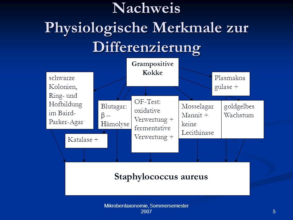 Nachweis Physiologische Merkmale zur Differenzierung
