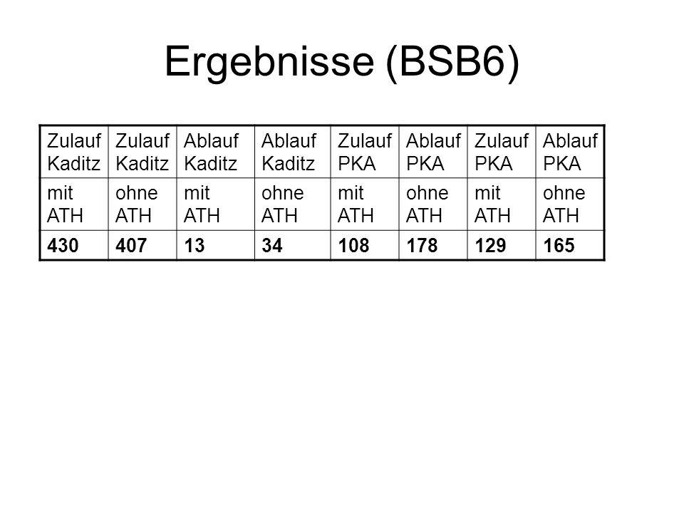 Ergebnisse (BSB6) Zulauf Kaditz Ablauf Kaditz Zulauf PKA Ablauf PKA