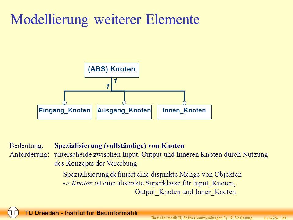 Modellierung weiterer Elemente