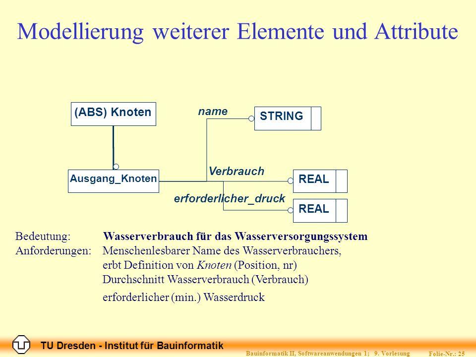 Modellierung weiterer Elemente und Attribute