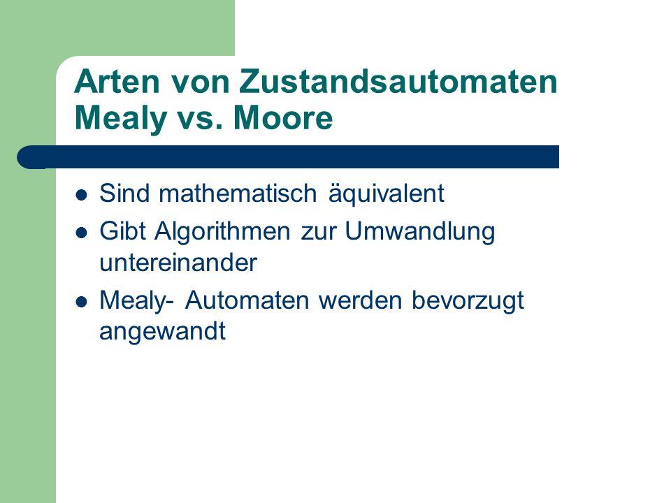 Arten von Zustandsautomaten Mealy vs. Moore