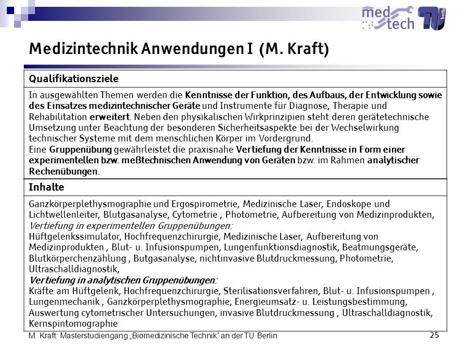 Medizintechnik Anwendungen I (M. Kraft)