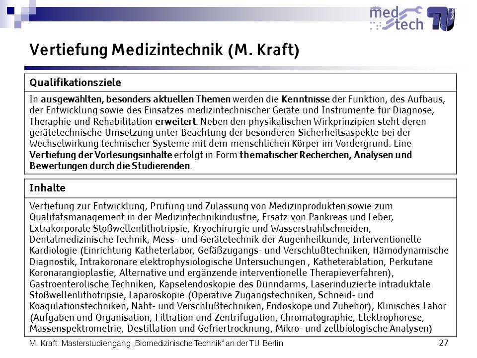 Vertiefung Medizintechnik (M. Kraft)