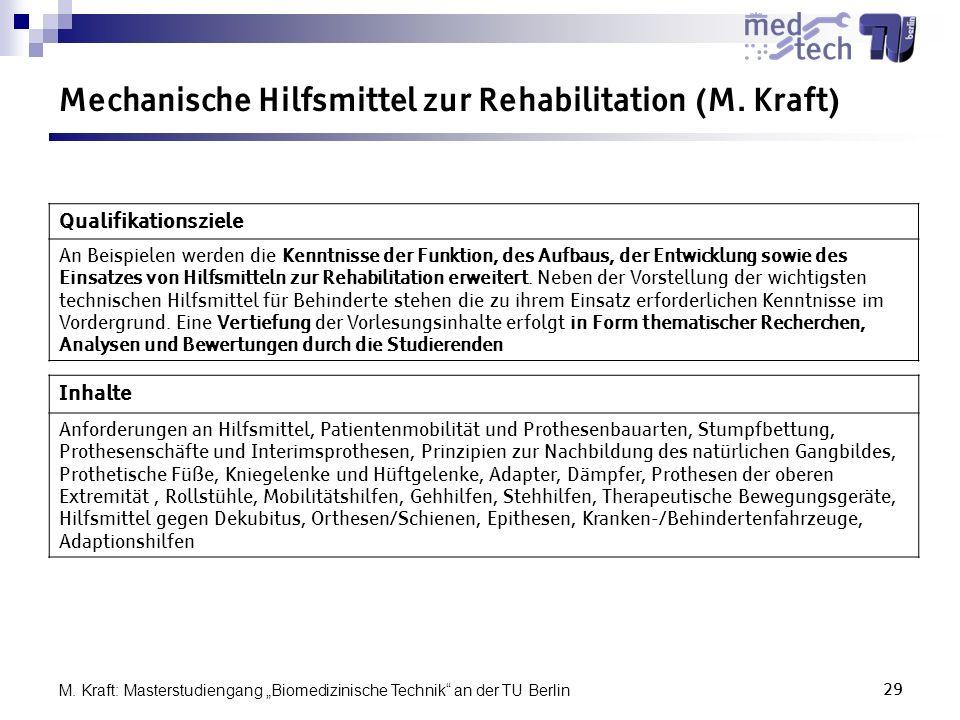 Mechanische Hilfsmittel zur Rehabilitation (M. Kraft)