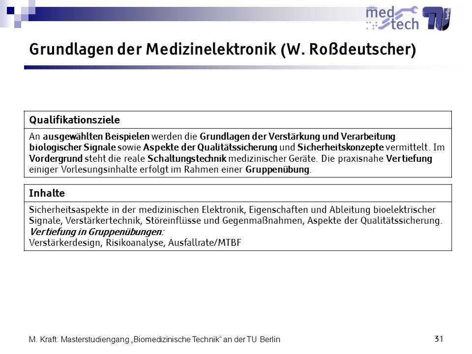 Grundlagen der Medizinelektronik (W. Roßdeutscher)