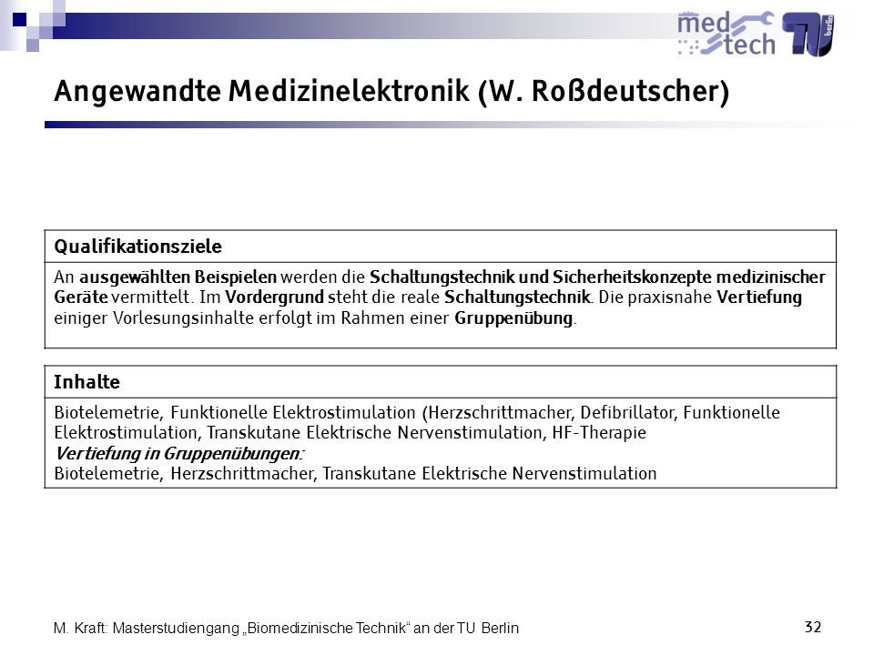 Angewandte Medizinelektronik (W. Roßdeutscher)