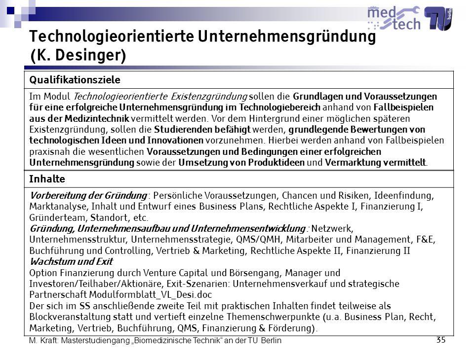 Technologieorientierte Unternehmensgründung (K. Desinger)