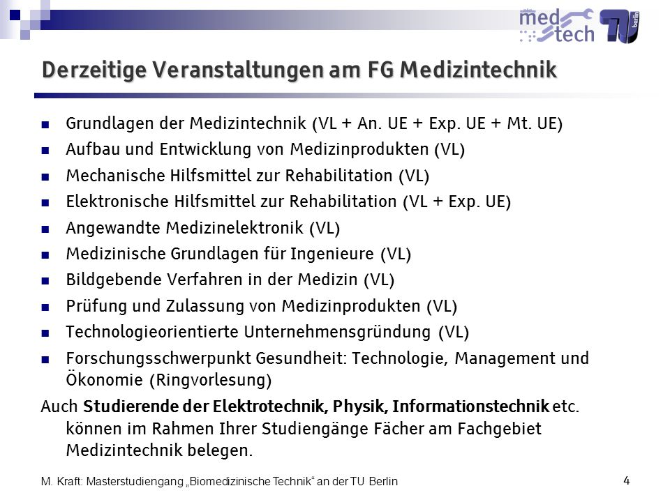 Derzeitige Veranstaltungen am FG Medizintechnik