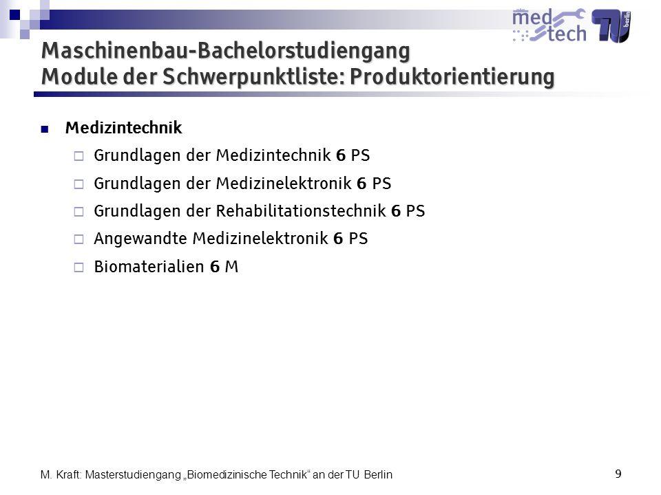 Maschinenbau-Bachelorstudiengang Module der Schwerpunktliste: Produktorientierung