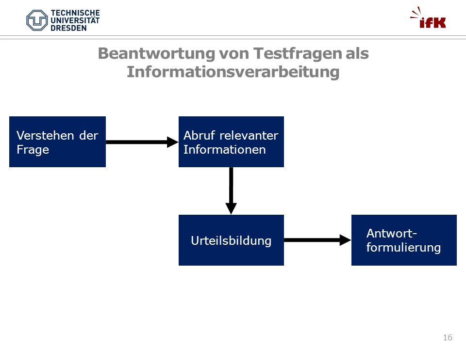 Beantwortung von Testfragen als Informationsverarbeitung